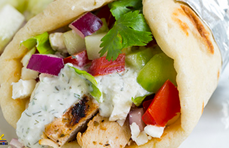 Gyros with Greek Chicken, Tzatziki and Homemade Greek Pita Flatbread